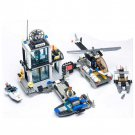 City Navy Police Station Helicopter Speed Boat Chase Lego Compatible Toy