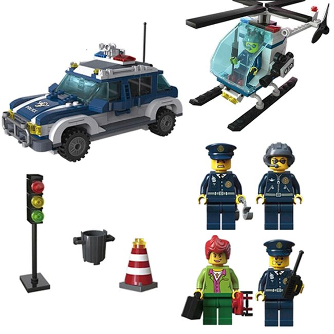 City Police Patrol Car Robbery Prison Helicopter Lego Compatible Toy