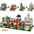 Mini City Town Hall Movie Theatre Restaurant Fire Station Lego Compatible Toy