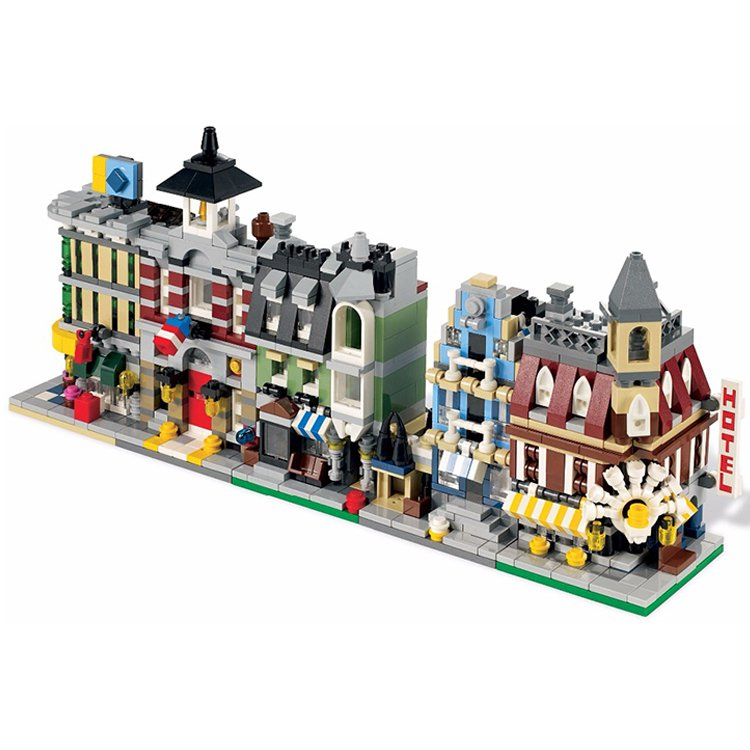 Lego City Compatible Toy Town Street Hall Fire Station Grocery Hotel Building