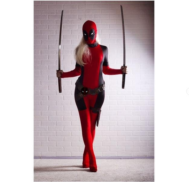 Deadpool Bodysuit Zentai Costume Halloween Cosplay Costumes for Lady