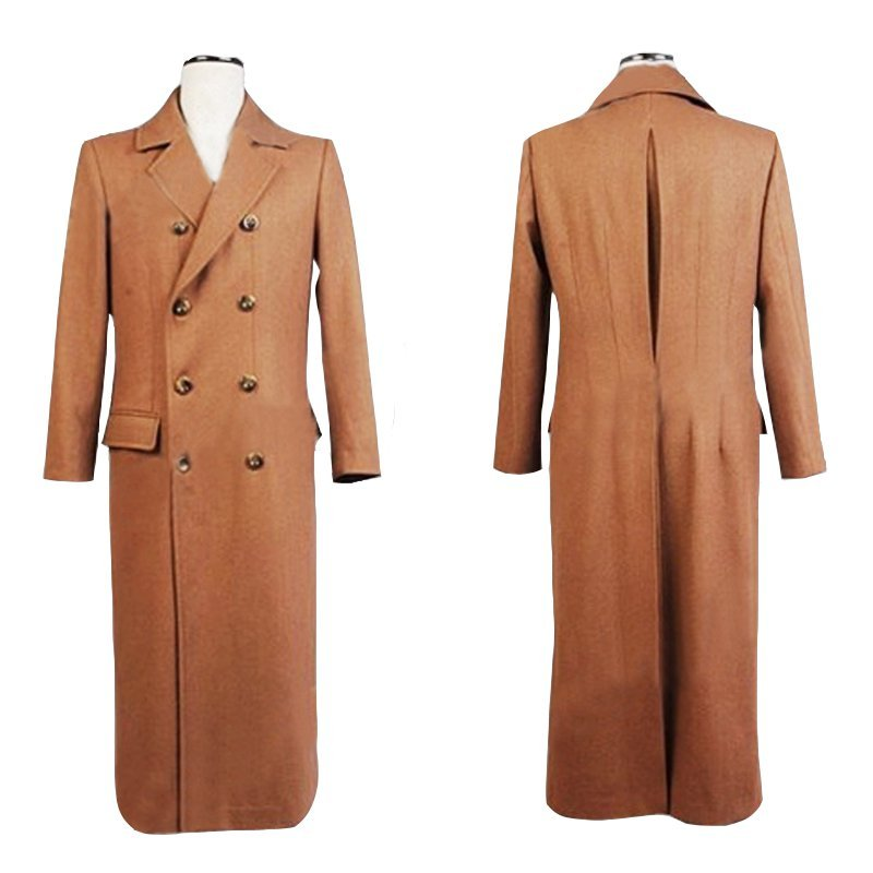 Doctor Who Dr. Brown Long Trench Coat Men's Cosplay Costumes