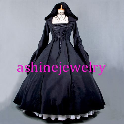 Women's Black Dress Gothic Baroque Medieval Dress with Hat Cosplay Party Dresses