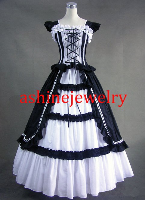 Black White Rococo Dance Dress Cosplay Party Lolita Dress for Female