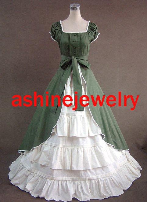 Custom Women's Rococo Dress, Green White Victoria Cosplay Gothic Halloween Party Dress