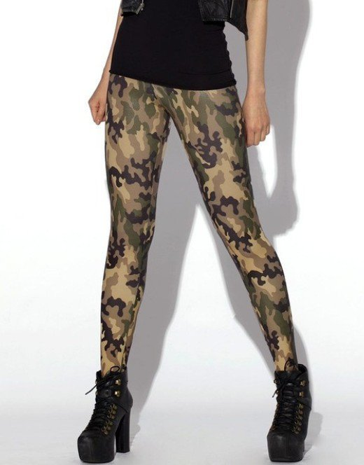 Woman Leggings Army Military Camo Camouflage Leggings Green Pants Spandex Tights for Woman