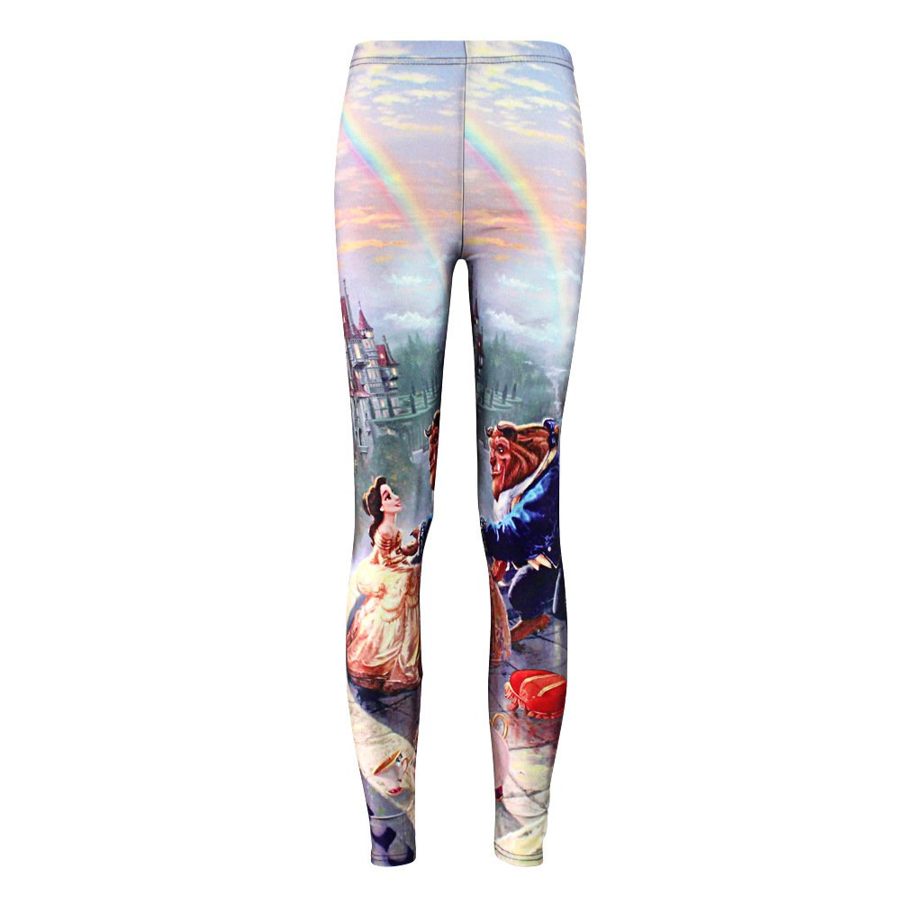 Beauty and Beast Digital Print Leggings Cartoon Pants Spandex Tights for Woman