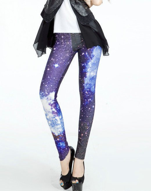 Blue Galaxy Light Space Elastic Yoga Leggings Women Pants New Tights for Gifts