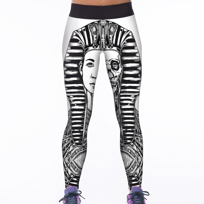 Egypt Pharaoh Cleopatra Print Tights Yoga Stretch Pants Woman High Waisted Legz