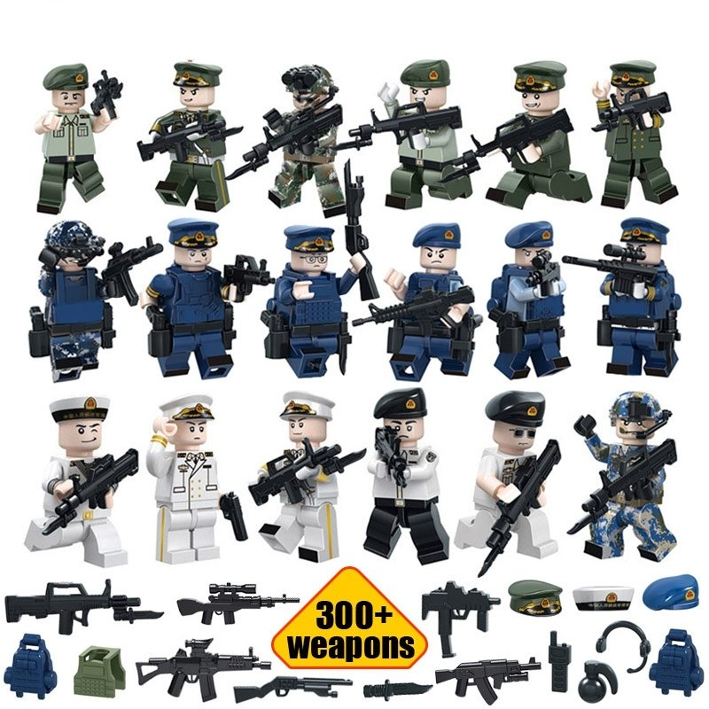 Navy Air Land soldiers with 300 weapons Lego Military  minifigure Compatible toy