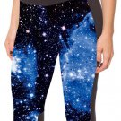 Women Sex Blue Galaxy Space Cropped Leggings Elastic Pants Yoga Trousers