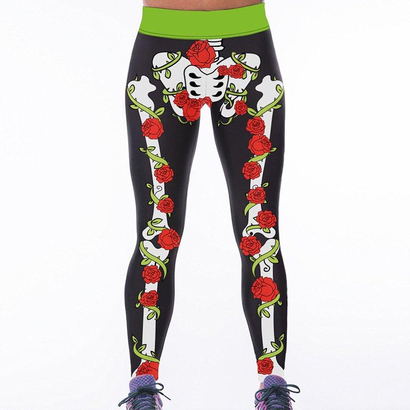 Flower Skull Digital Print Fitness Yoga Leggings Skeleton High Waist Women Pants