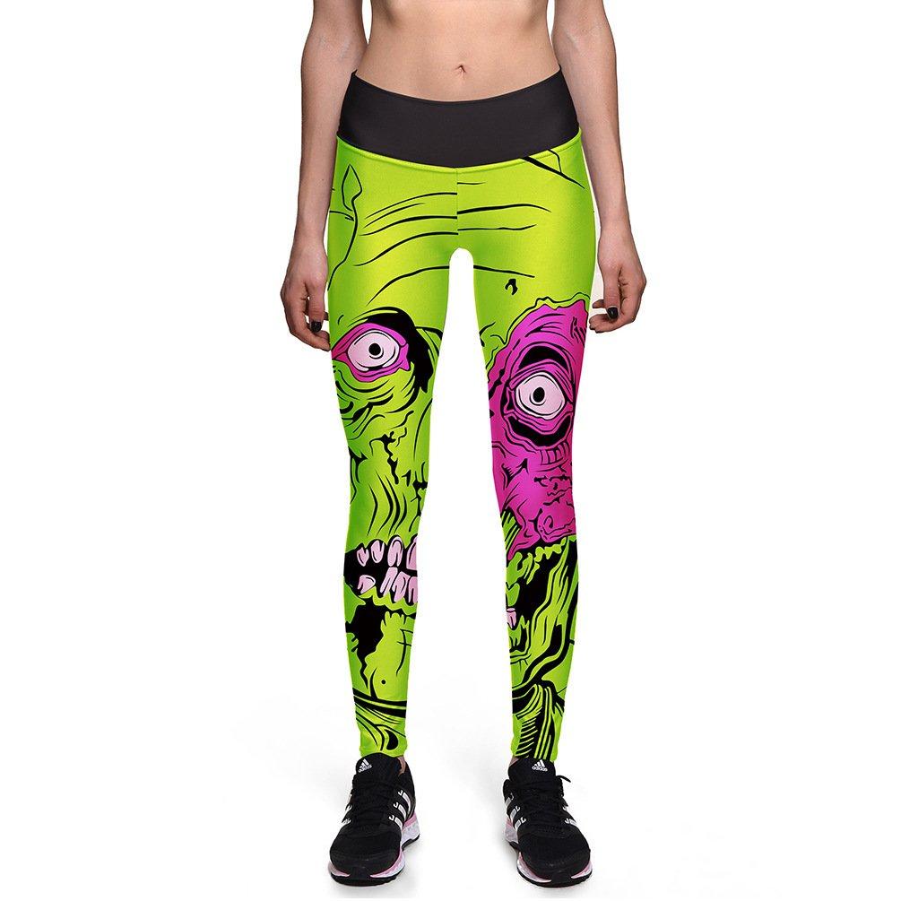 Green Cartoon Monster Fitness Spandex Leggings Halloween Comics Pants Gifts