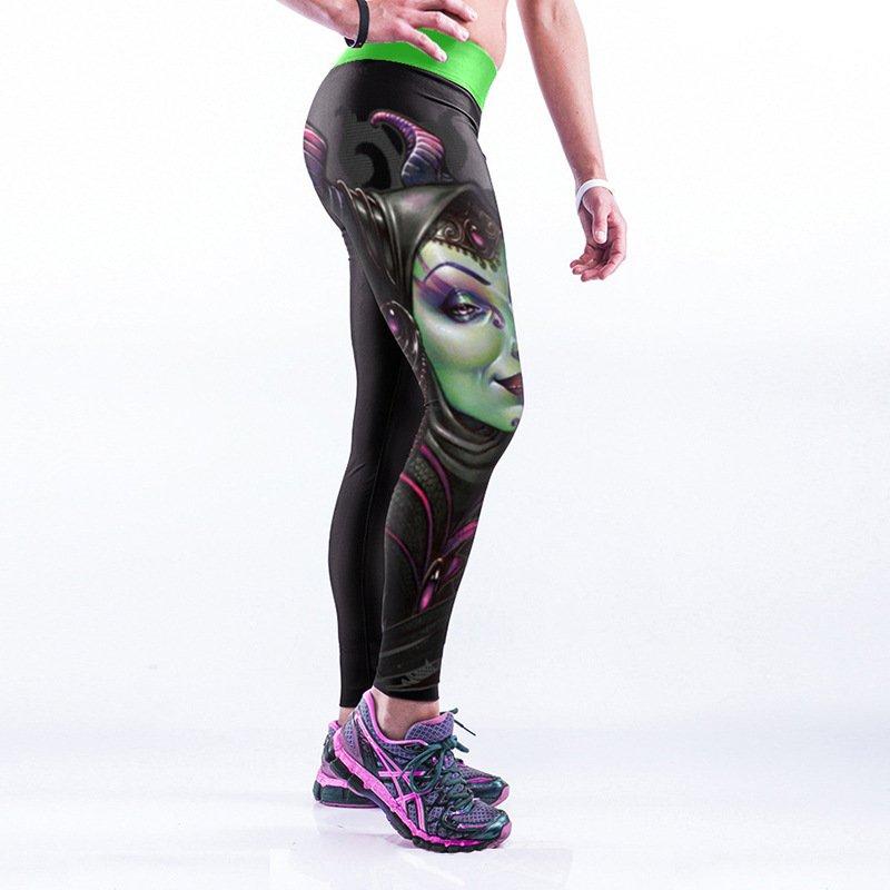 (Maleficent)Green Woman with Ox Horn Spandex High Waist Leggings Yoga Cartoon Comic Pants