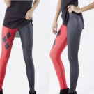 Harley Quinn Fit Leggings Cartoon Red and Black Pants Spandex Tights for Woman