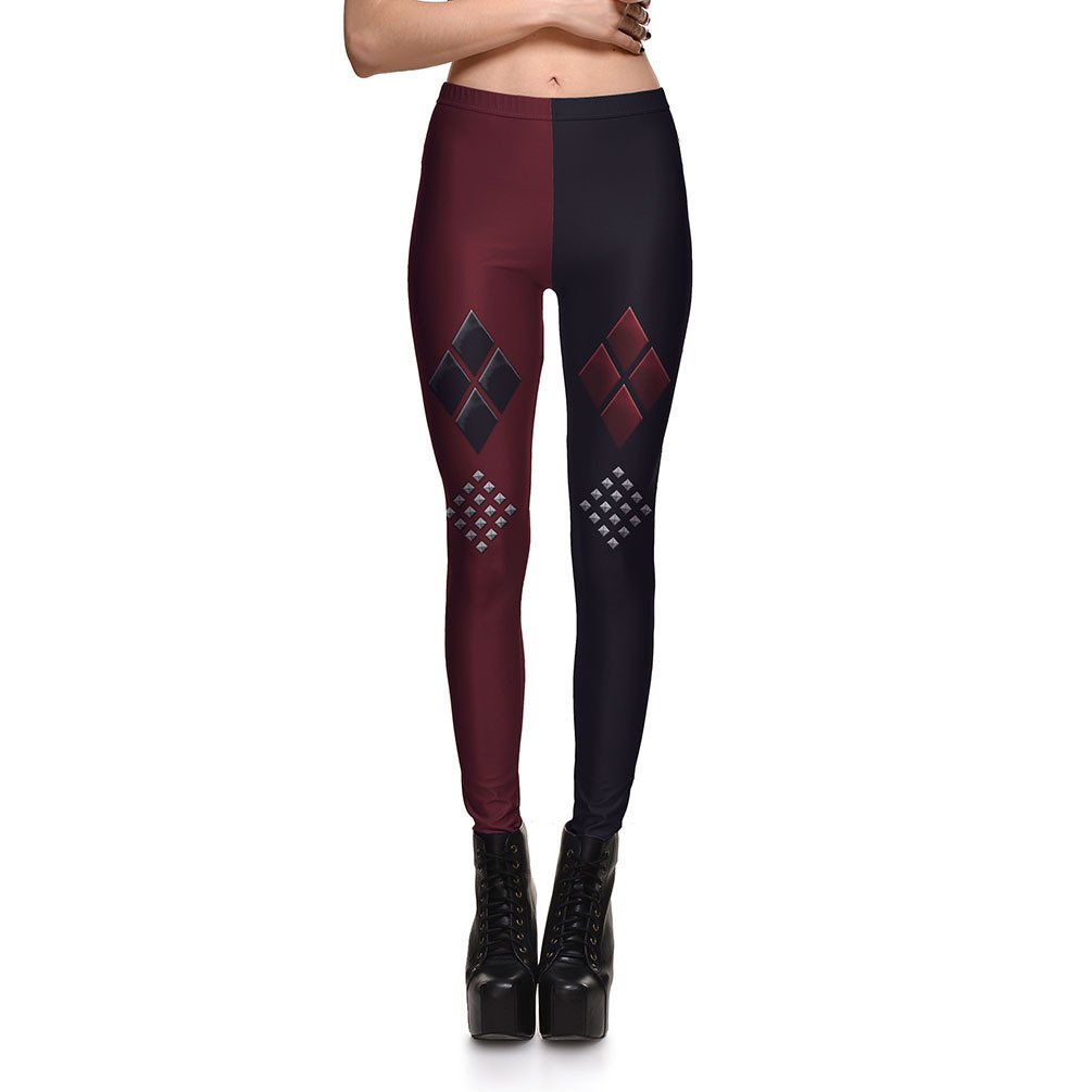 Harley Quinn Leggings Cartoon Red and Black Pants Spandex Tights for Woman