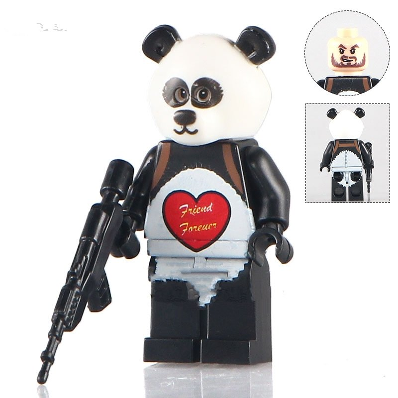 Lego Minifigure Compatible toys Panda with Heart DC super hero