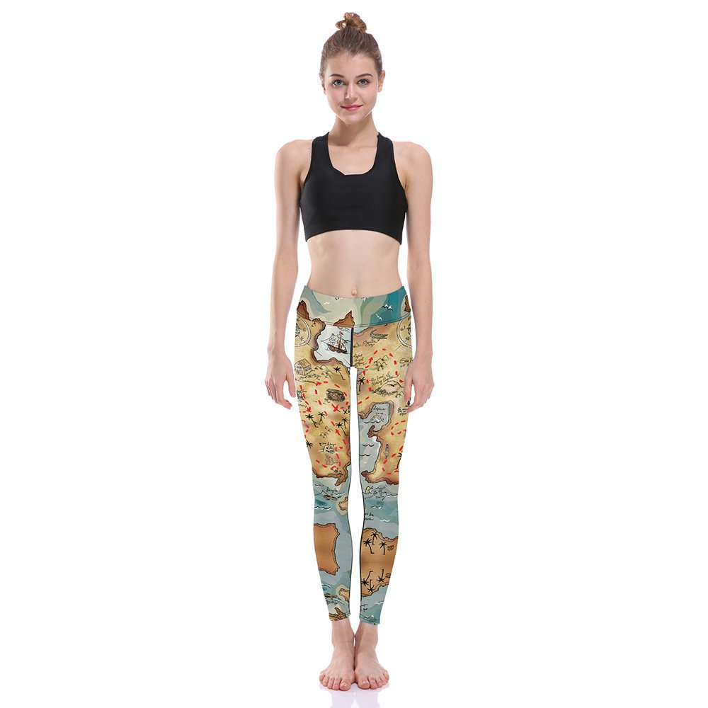 High Waist Middle Earth Map Pants Lord of Rings Leg The Hobbit Yoga Skinny Jeans