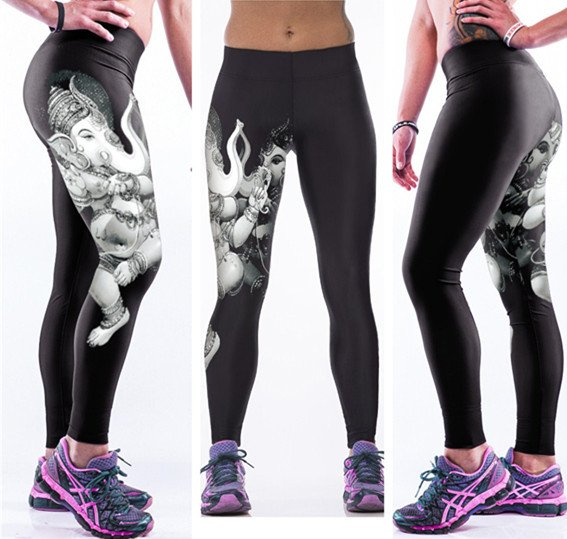 Elephant Digital Print Fitness Yoga Leggings Lord Ganesh Women Pants
