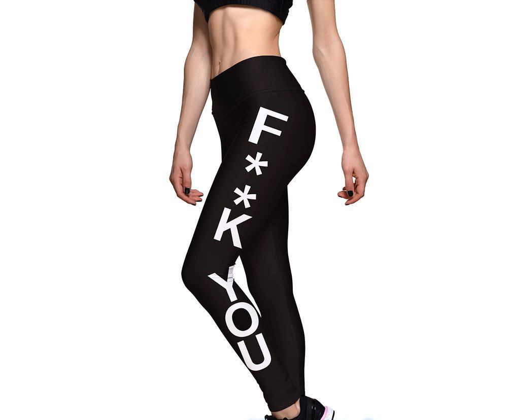 Inspired Works Fuck You Black Electic Leggings Motivational Excise Sports Tights