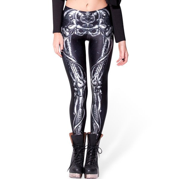 Black Skeleton Elastic Leggings Womens Skull Tights Leggings for Ladies
