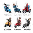 Marvel Super Heroes Motorcycle spiderman superman minifigures Lego Compatible Toys