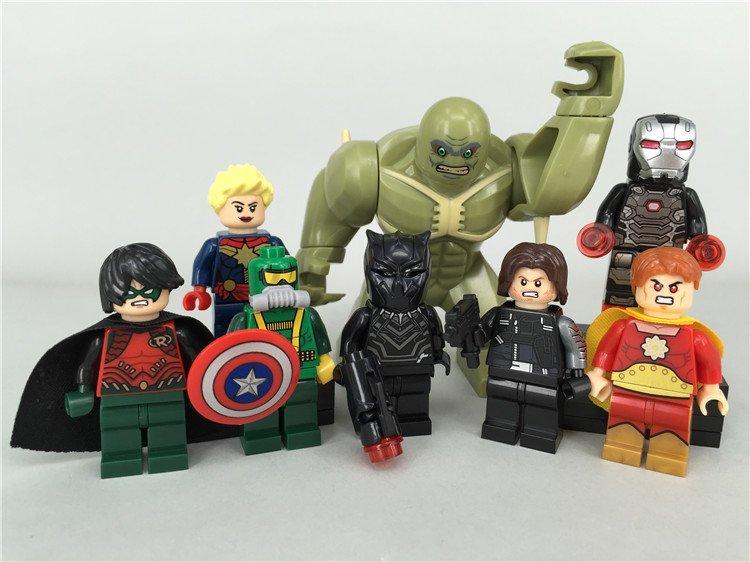 Marvel Superheros Sets Lego Ironman Hulk Batman Minifigures Fit Building Toys
