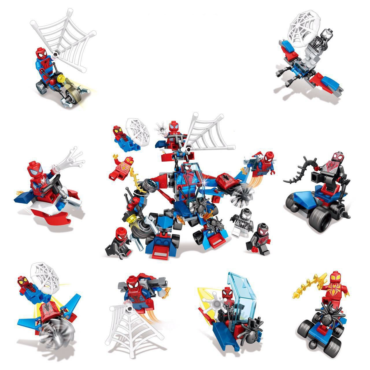 Marvel SpiderMan Homecoming Minifigures Motorcycles Lego Compatible Toys