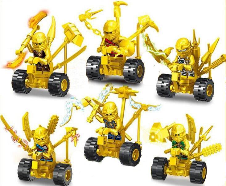 Gold Ninjago Minifigures on Motors Compatible Lego Ninjago Sets Building Toys