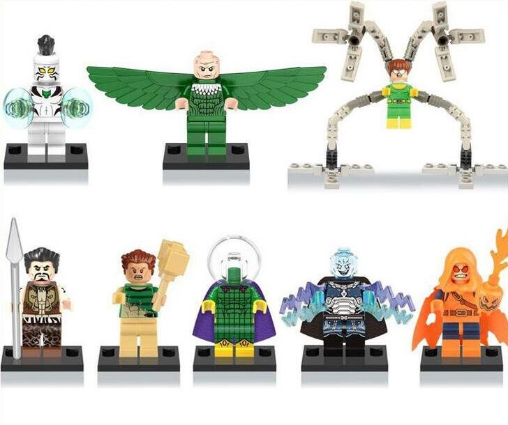 Marvel The Amazing Spider-Man minifigures Dr.Octopus�Electro�Lord Voldemort Lego Compatible Toys