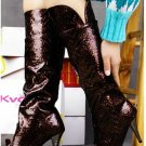 DESIGNER STYLE  HIGH HEEL BOOTS OIL LEATHER BURGENDY