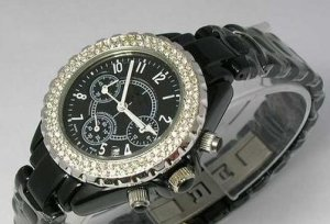 DESIGNER STYLE  CAREMIC WATCH WITH STONES