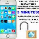 FACTORY UNLOCK Code Service for AT&T iPhone 5S 5C 5 4S 4 3GS 3G **FAST**