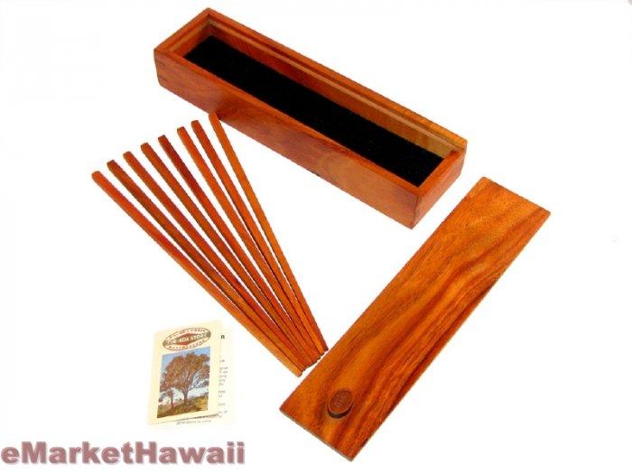 Handmade Koa wood chopstick holder with 4 pairs of chopsticks