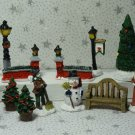 Mini Christmas Village Accessories Set People Lamp Posts Snowman Resin Lot 13