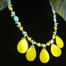 Yellow Bib Necklace Natural Turquoise Gemstone Beaded Handmade Jewelry New
