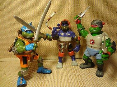 2003 Teenage Mutant Ninja Turtles Action Figures W/ Weapons Playmate Toys Lot 3