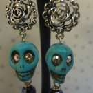 Skull Earrings Punk Goth Handmad Day Of The Dead Swarovski Crystal Jewelry