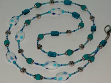 Beaded ID Badge Lanyard Necklace Name Tag Holder Glass Beads Blue Teal New