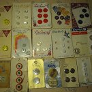 Vintage 18 Carded Buttons Sewing England Japan Germany USA Mix Lot 64 Pcs