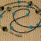 Beaded ID Badge Lanyard Necklace Name Tag Holder Glass Black Beads New