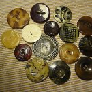Vintage Tight Top Celluloid Buttons Natural Sewing Craft MIX LOT 15 pcs