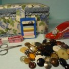 Vintage Sewing Basket Pin Cushion Buttons Scissors Measuring Tape Mix Lot 56