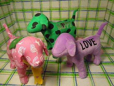 "Victoria's Secret Pink Dog LOVE HAPPY PHI BETA  Plush Stuffed Animal 7"" Lot 3"