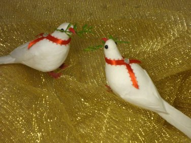 White Doves Feather Birds Christmas Ornaments Lot 6 New