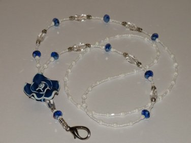 Beaded ID Badge Lanyard Necklace Name Tag Holder Blue Crystals Beads Glass New