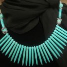 "Western Necklace Gemstone Beaded Jewelry 18"" Natural Turquoise Howlite"