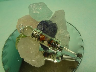 Chakra Pendant Vial Gemstone Chip Faceted  Point Crystal Quartz Sterling Silver
