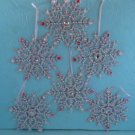 Shabby Christmas Chic Pink Snowflake Ornaments Hand Decorated Lot 6