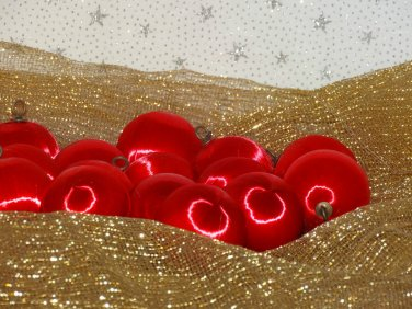 Vintage Satin Styrofoam Ball Christmas Ornaments Red Lot 15